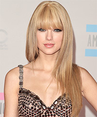Taylor Swift Long Straight   Light Honey Blonde   Hairstyle with Blunt Cut Bangs