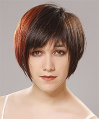 Short Straight Casual    Hairstyle with Side Swept Bangs  -  Chocolate Brunette Hair Color