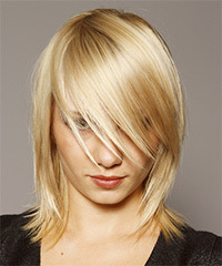 Medium Straight Casual    Hairstyle   - Light Blonde Hair Color