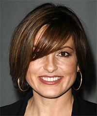 Mariska Hargitay Medium Straight Casual    Hairstyle with Side Swept Bangs  -  Brunette Hair Color