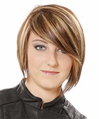Short Straight Casual    Hairstyle with Side Swept Bangs  -  Caramel Brunette Hair Color with  Blonde Highlights