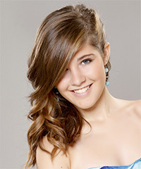 Long Curly Formal    Hairstyle   - Light Brunette and Caramel Two-Tone Hair Color