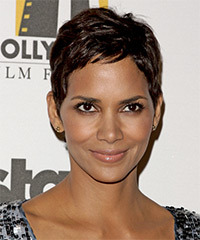 Halle Berry Short Straight Casual  Pixie  Hairstyle   - Dark Mocha Brunette Hair Color