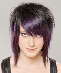 Medium Straight Alternative    Hairstyle with Razor Cut Bangs  - Purple  and Black Two-Tone Hair Color