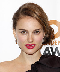 Natalie Portman  Long Curly Formal   Updo Hairstyle   -  Caramel Brunette Hair Color