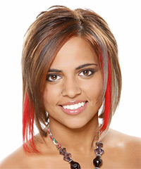 Medium Straight Alternative    Hairstyle   - Caramel and Chestnut Two-Tone Hair Color with Light Red Highlights