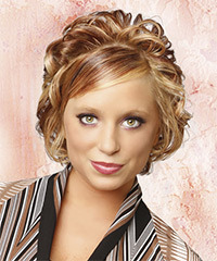Short Curly Formal    Hairstyle with Side Swept Bangs  - Dark Caramel Blonde Hair Color with Light Blonde Highlights