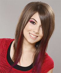 Long Straight Casual    Hairstyle   -  Ash Brunette Hair Color with Pink Highlights