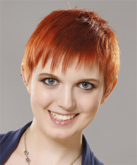 Short Straight Casual  Pixie  Hairstyle with Blunt Cut Bangs  - Orange  Hair Color