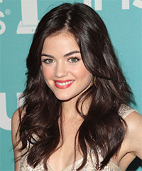 Lucy Hale Long Wavy Casual    Hairstyle   -  Chocolate Brunette Hair Color