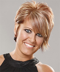 Short Straight Formal    Hairstyle with Side Swept Bangs  - Light Champagne Blonde Hair Color