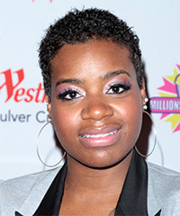 Fantasia Barrino Short Curly Casual    Hairstyle   - Black  Hair Color