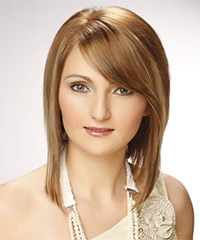 Medium Straight Formal  Bob  Hairstyle with Side Swept Bangs  - Light Blonde Hair Color