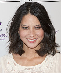 Olivia Munn Medium Wavy Casual Layered Bob  Hairstyle   - Black  Hair Color