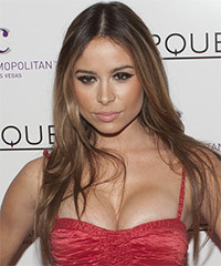 Zulay Henao Long Straight    Brunette and Dark Brunette Two-Tone   Hairstyle