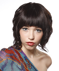 Medium Curly Formal  Bob  Hairstyle with Blunt Cut Bangs  - Dark Brunette Hair Color