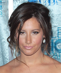 Ashley Tisdale  Long Straight Casual   Updo Hairstyle   - Dark Brunette Hair Color