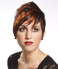 Short Straight Alternative  Pixie  Hairstyle with Layered Bangs  - Dark Brunette and Orange Two-Tone Hair Color