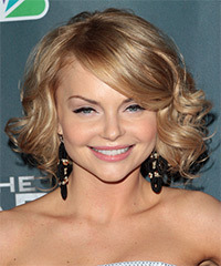 Izabella Miko Medium Curly Formal    Hairstyle with Side Swept Bangs  -  Blonde Hair Color