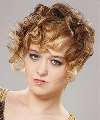 Short Curly Casual    Hairstyle   - Light Caramel Brunette Hair Color with Light Blonde Highlights
