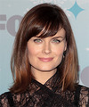 Emily Deschanel Medium Straight Casual    Hairstyle with Side Swept Bangs  - Dark Red Hair Color