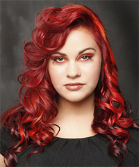 Long Curly Alternative    Hairstyle   -  Bright Red Hair Color