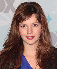 Amber Tamblyn Long Straight Casual    Hairstyle with Side Swept Bangs  -  Red Hair Color