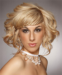 Long Curly Formal   Updo Hairstyle   -  Honey Blonde Hair Color