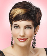 Layered  Dark Mocha Brunette Pixie  Cut with Side Swept Bangs  and Light Blonde Highlights