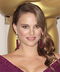 Natalie Portman Long Wavy Formal    Hairstyle   -  Caramel Brunette Hair Color