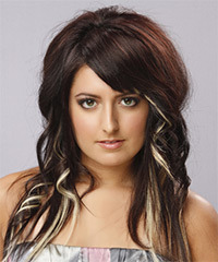Medium Wavy Casual    Hairstyle   - Dark Brunette Hair Color with Light Blonde Highlights