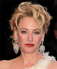 Virginia Madsen  Long Curly Formal   Updo Hairstyle   - Light Blonde and  Brunette Two-Tone Hair Color