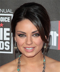 Mila Kunis  Long Straight Formal   Updo Hairstyle   - Dark Brunette and Dark Blonde Two-Tone Hair Color