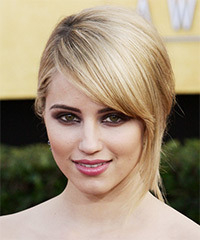 Dianna Agron  Long Straight Formal   Updo Hairstyle   -  Blonde and Dark Brunette Two-Tone Hair Color