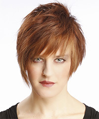Short Straight Alternative    Hairstyle with Layered Bangs  - Light Auburn Brunette Hair Color
