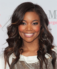 Gabrielle Union Long Wavy Formal    Hairstyle   - Dark Mocha Brunette Hair Color