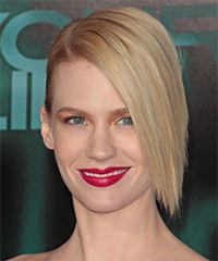 January Jones  Long Straight Formal   Updo Hairstyle   - Light Blonde Hair Color