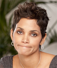 Halle Berry Short Straight Casual    Hairstyle   -  Chocolate Brunette Hair Color