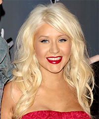 Christina Aguilera Long Wavy Casual    Hairstyle   - Light Golden Blonde Hair Color