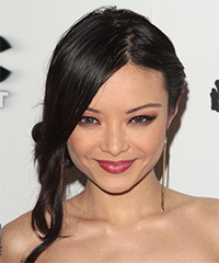 Tila Tequila  Long Straight Formal   Updo Hairstyle   - Black  Hair Color