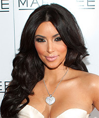 Kim Kardashian Long Wavy   Dark Brunette   Hairstyle