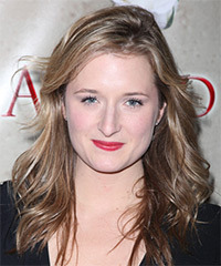 Grace Gummer  Long Wavy Casual    Hairstyle   - Light Ash Brunette Hair Color with  Blonde Highlights