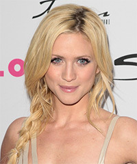 Brittany Snow  Long Curly Casual  Braided Updo Hairstyle   - Light Blonde Hair Color