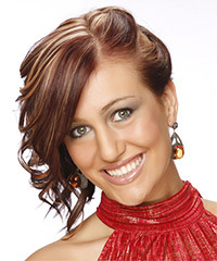 Medium Curly Formal   Updo Hairstyle   -  Mahogany Red Hair Color with Light Blonde Highlights