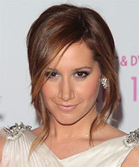 Ashley Tisdale  Long Straight Casual   Updo Hairstyle   -  Auburn Brunette Hair Color