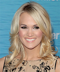 Carrie Underwood Medium Wavy Formal    Hairstyle with Side Swept Bangs  - Light Golden Blonde Hair Color