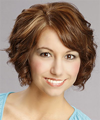 Short Curly Formal    Hairstyle with Side Swept Bangs  -  Auburn Brunette Hair Color with Light Blonde Highlights