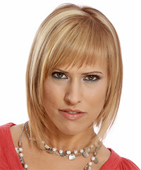 Medium Straight Formal Layered Bob  Hairstyle with Layered Bangs  - Dark Blonde Hair Color with Light Blonde Highlights