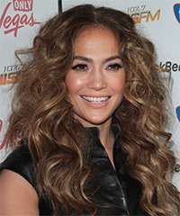 Jennifer Lopez Long Curly Casual    Hairstyle   - Light Brunette Hair Color with Dark Blonde Highlights