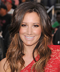 Ashley Tisdale Long Wavy Casual    Hairstyle   - Dark Brunette and Light Brunette Two-Tone Hair Color
